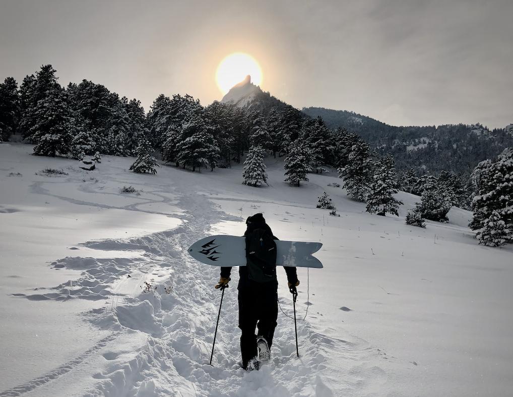 Trent Bush hiking Chautauqua snowboarding